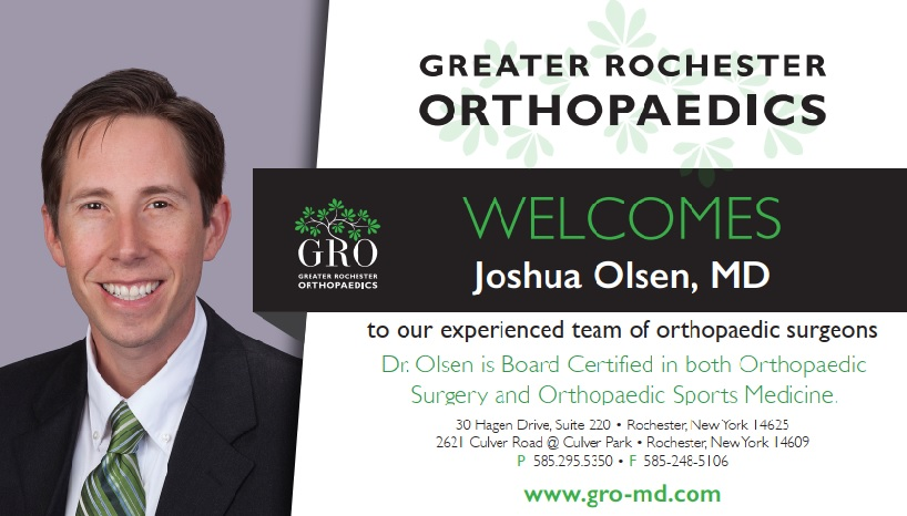 Welcoming Dr. Olsen to Greater Rochester Orthopaedics, PC.
